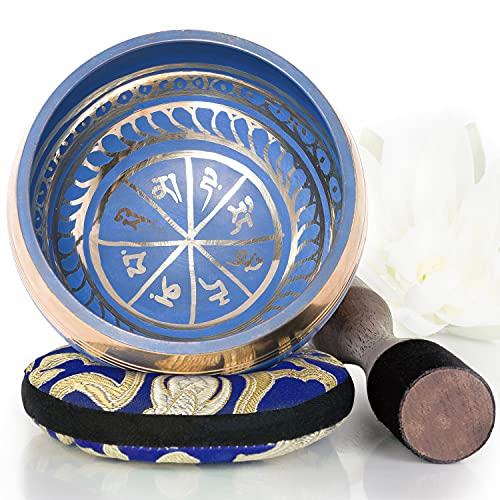 Silent Mind tibetische Klangschale Set ~ Blaue Design ~ mit hochwertigem Holz Klöppel und Himalaya Kissen ~ perfektes zur Yoga Meditation, Entspannung und Achtsamkeit ~ das ideale Geschenkset