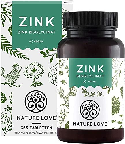 NATURE LOVE® Zink - 25mg - 365 Tabletten im Jahresvorrat. Premium: Laborgeprüftes Zink-Bisglycinat (Zink Chelat) von Albion®. Hoch bioverfügbar und vegan. Hochdosiert und hergestellt in Deutschland