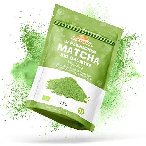 Matcha Tee Pulver Bio [Premium-Qualität] 100g   Original Green Tea aus Japan   Japanischer Matcha ideal zum Trinken   Grüntee-Pulver für Latte, Smoothies, Matcha-Getränk   Hergestellt in Uji, Kyoto.