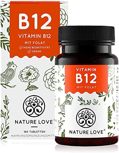 NATURE LOVE® Vitamin B12 - Vergleichssieger 2019* - 1000µg, 180 Tabletten. Beide aktive Formen Adenosyl- & Methylcobalamin + Depot + Folat 5-MTHF. Vegan, hochdosiert, made in Germany