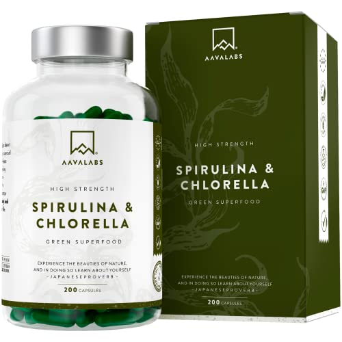 Spirulina Chlorella Algen Kapseln [ 1800 mg ] - 180 Pulver Kapseln - Hochdosiert, 100{52d4741e5aeda1fc7de42cc9916cab5f11cdef50e086760201e845314ca949aa} vegan und glutenfrei - Hochwertige Pflanzeninhaltsstoffe aus Spirulina Alge - In Europa hergestellt.