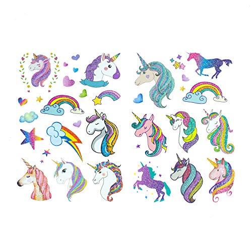 Oblique Unique® Einhorn & Regenbogen Sticker Tattoos mit Glitzereffekt - wunderschöne, farbenfrohe Einhörner & Regenbogen als temporäre Tattoos