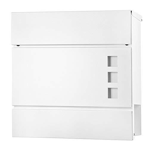 Melko Design Mailbox Briefkasten Weiß mit Zeitungsrolle aus poliertem Edelstahl, 37 x 11 x 36,5 cm