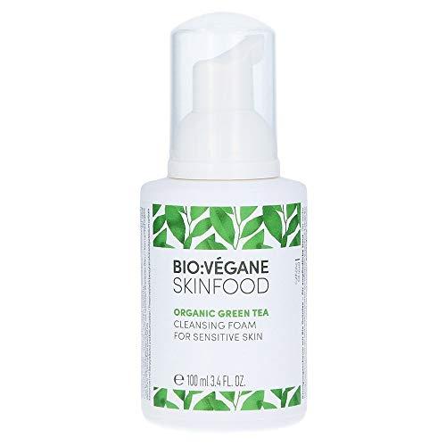 BIO:VÉGANE SKINFOOD Bio Grüntee - Reinigungsschaum für empfindliche Haut, vegan, NATRUE-zertifiziert, mit Bio Süßholzwurzelextrakt, für sensible Haut, 1er Pack (1 x 100 ml)