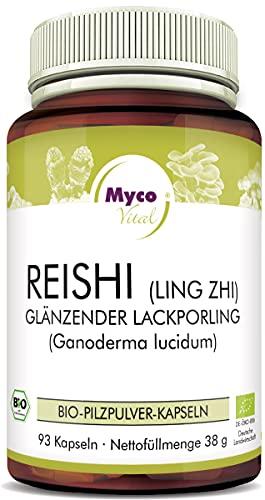 Reishi Kapseln von Mycovital | Superfood zum Immunsystem stärken | 93 Kapseln je 400mg Reishi Pulver | Vegane Reishi BIO Kapseln | KEIN Reishi Extrakt