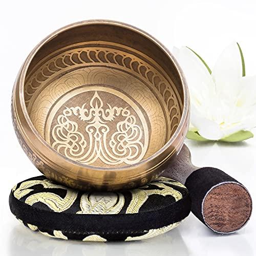 Silent Mind tibetische Klangschale Set ~ Bronze Mantra Design ~ mit hochwertigem Holz Klöppel und Himalaya Kissen ~ perfektes zur Yoga Meditation, Entspannung und Achtsamkeit ~ das ideale Geschenkset