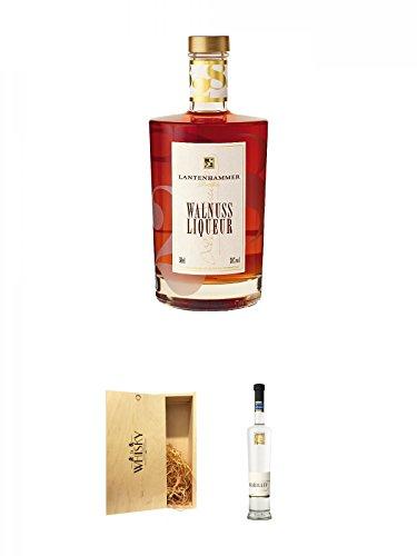Lantenhammer Walnusslikör 0,5 Liter + 1a Whisky Holzbox für 2 Flaschen mit Schiebedeckel + Lantenhammer Mirabellenbrand 0,5 Liter