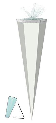 Unbekannt Schultüte Rohling - Weiß - 85 cm / Tüllabschluß - Zuckertüte - zum Basteln, Bemalen und Bekleben Bastelschultüte