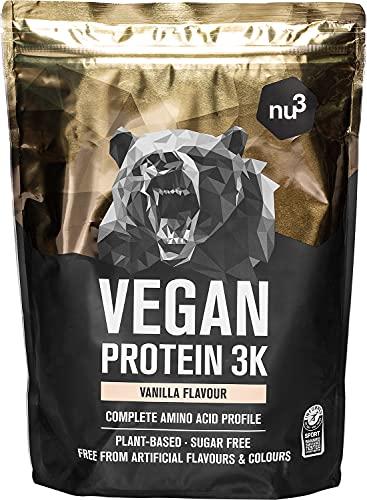 nu3 Vegan Protein 3K Shake - 1 Kg Vanilla Blend - veganes Proteinpulver aus 3-Komponenten-Protein mit 71{781919e6c7cca465106eb4a8be67f6e4a11a87b5b73bf00d99631ff6f86cc074} Eiweiß - Pulver mit leckerem Vanille-Geschmack - Laktosefrei