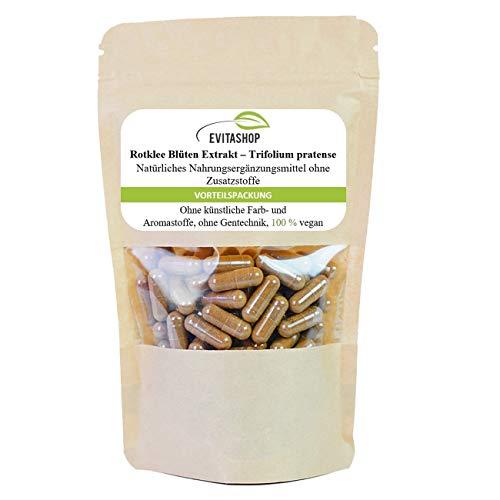 Rotklee Extrakt Kapseln (Wiesenklee/Trifolium) | 10:1-Extrakt | Reich an Isoflavonen (42 mg/Kapsel), pflanzlichen Östrogenen und Phytoöstrogenen | 1 Packung = 60 x 400 mg - Vegane Kapseln