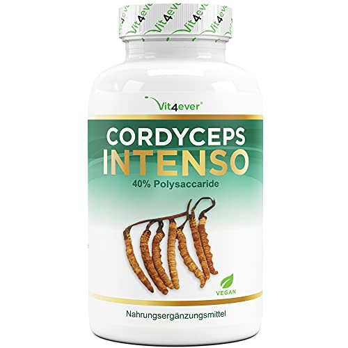 Vit4ever® Cordyceps 4000 Intenso - CS-4 Extrakt - 180 Kapseln - 500 mg Extrakt pro Kapsel - 40{2313894c0450ab56916127f831a974924cac20bf6a87cafb42eef4f7ea3275fe} Polysaccaride - Laborgeprüft - Pro Tagesportion 4000 mg Cordyceps Sinensis Pulver - Raupenpilz