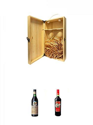 1a Whisky Holzbox für 2 Flaschen mit Hakenverschluss + Fernet Branca Kräuterlikör aus Italien 0,7 Liter + Cynar Artischocken Bitter aus Italien 0,7 Liter
