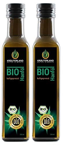 Kräuterland Bio Hanföl, Bio-zertifiziert, 500ml (2x 250ml), kaltgepresst, 100{c0eb2d6e11606c0a7ce4ba99d5f02366a17d8a6be325db8c3391943602d32b31} naturrein, rein nativ, Premium Qualität, Frischegarantie: mühlenfrisch direkt vom Hersteller Kräuterland