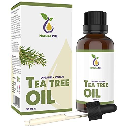 Natura Pur Bio Teebaumöl 50ml - 100{56c21df7b31964d2330f236e334793e49c0fb264829ee3382e7851b0cf5312e6} naturreines ätherisches Öl aus Australien, vegan - zur Anwendung auf unreiner Haut, Hautentzündungen, Anti Pickel, Akne sowie Warzen und Pilzen - Diffuser Öl