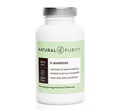D-Mannose Pulver - 100g - Zur Entgiftung bei Blasenentzündungen - 100{943015892858f9ecd5e5e653402f4abc54029af8ef74dd0d09a28a43a58f2db7} naturbelassen, rein & ohne Zusatzstoffe, Fette, Hefen oder Füllmittel - Einfache Dosierung - Natural Purity