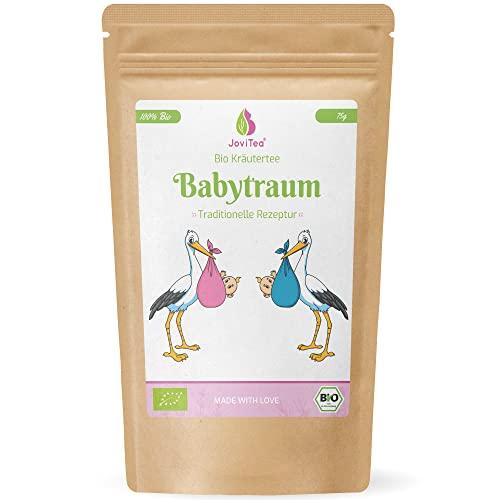 JoviTea® Babytraum Tee BIO - Traditionelle Rezeptur - spezielle Kräutermischung - aus kontrolliert biologischem Anbau. 100{381dfe00d0321329d0b641e9411b41c2116d28485f7840fbf6aa44850626017a} natürlich und ohne Zusatz von Zucker - 75g