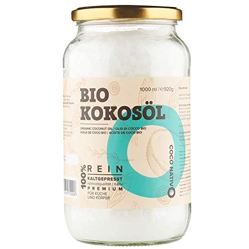 Bio Kokosöl CocoNativo - 1000mL (1L) - Bio Kokosfett, Kokosnussöl, Premium, Nativ, Kaltgepresst, Rohkostqualität, Rein (1000ml) - zum Kochen, Braten und Backen, für Haare und Haut