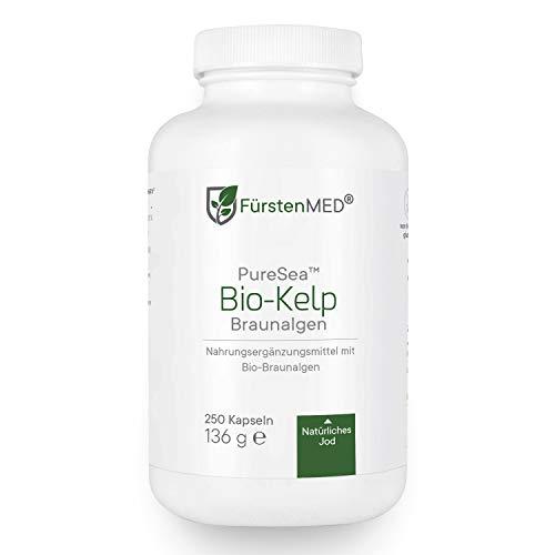 FürstenMED® Bio Kelp - Natürliche Jod Quelle aus Braunalgen - 250 Vegane Hochdosierte Kapseln aus Deutschland ohne Zusatzstoffe