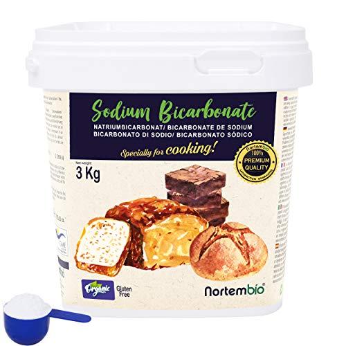 NortemBio Ökologischer Natron Pulver 3 Kg. Natriumbicarbonat, Backpulver, Backsoda. Premium - Lebensmittelqualität. Speziell zum Kochen. Entwickelt in DE.