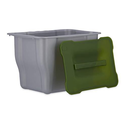 Relaxdays Abfallsammler, Kitchenbox für Biomüll, Multifunktionsbox, mit Deckel, 5 Liter, grau Abfallbehälter küche, Plastik, Anthrazit, 15.3 x 24.7 x 17.5 cm