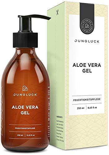 Aloe Vera Gel aus 95{0cae68a78d81c8d45c27ec721872ae518504fbf9e0c6ad946e4ee267d8687786} bio Aloe Vera - vegan & in Braunglas - Feuchtigkeitspflege für gesunde & schöne Haut - Junglück natürliche & nachhaltige Kosmetik made in Germany - 250 ml