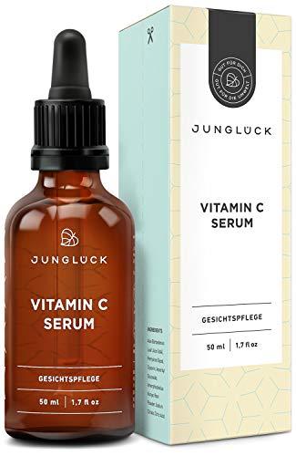 Vitamin C Serum auf bio Aloe Vera Basis - vegan & in Braunglas - Anti-Aging durch Feuchtigkeitspflege für Gesicht & Haut - Kollagen Booster - Junglück natürliche Kosmetik made in Germany - 50ml
