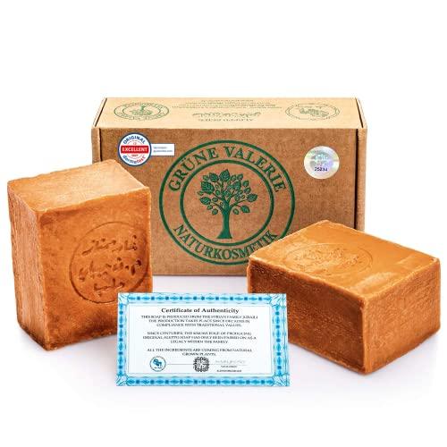 Grüne Valerie ® Originale Aleppo Seife im Set 2 x 200g + 40/60{19c4d79dad5272273e9d0f1869f86d7f54c5cc60e6879b3f80cb37c3be0fccfb} Lorbeeröl/Olivenöl - Haarwaschseife/Duschseife PH Wert 8 - Detox Eigenschaften - veganes Naturprodukt Handarbeit - 6 Jahre gereift!