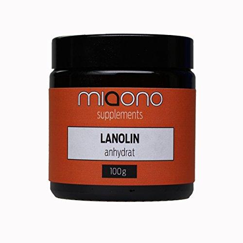 Lanolin Wollfett anhydrat von miaono | wasserfrei | ideal als Zugabe für Cremes und Salben - 100g im Glastiegel
