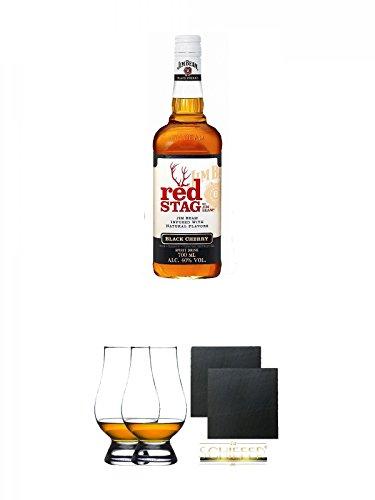Jim Beam Red Stag Black Cherry 0,7 Liter + The Glencairn Glass Whisky Glas Stölzle 2 Stück + Schiefer Glasuntersetzer eckig ca. 9,5 cm Ø 2 Stück