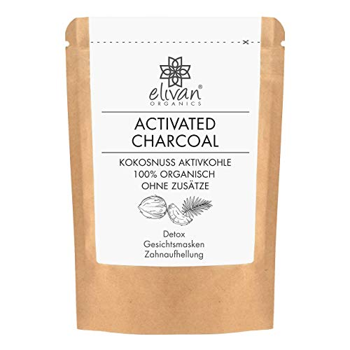 Aktivkohle Pulver - ACTIVATED CHARCOAL by elivan organics - extra feines Pulver - ohne Zusätze - aus Kokosschalen - Zahnaufhellung & Bleaching - Gesichtsmasken & Seifen - Detox - 40 g