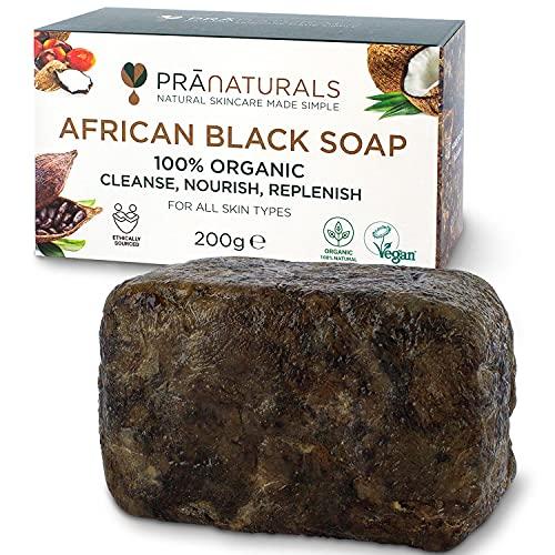 PraNaturals Organisch Afrikanische Schwarze Seife 200g, Vegan Kosmetik, Für Alle Hauttypen, Handgefertigt Im Tropischen Ghana, Natürliche Behandlung für die Haut und Gesicht