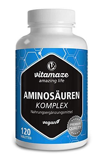 Aminosäure Komplex 120 Tabletten vegan mit 8 essentiellen Aminosäuren Qualitätsprodukt-Made-in-Germany ohne Magnesiumstearat und kostenlose Rücknahme!