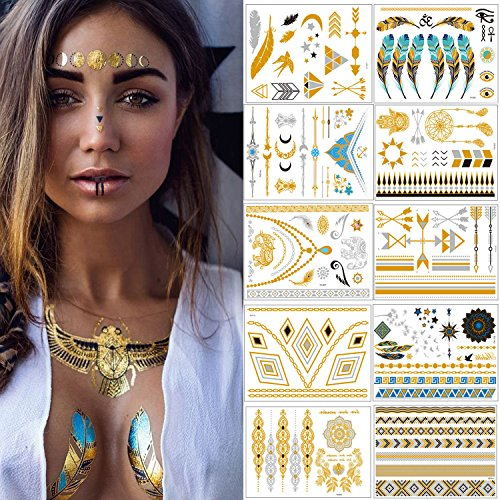 Flash Tattoos - Meersee Temporäre Klebe-Tattoos 10er Set Metallic Flash Tattoos in Gold und Silber Temporäre Tätowierung Wasserdichte