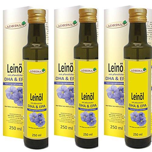 Adrisan Leinöl bio* mit DHA & EPA - 3er Pack (3x 250 ml) - Nahrungsergänzungsmittel