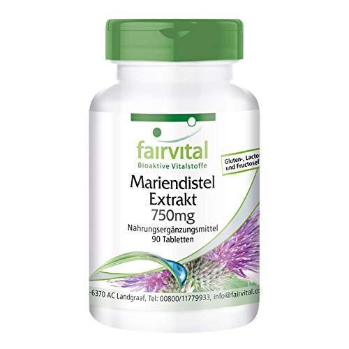 Mariendistel Extrakt Tabletten 750mg - HOCHDOSIERT - VEGAN - 90 Tabletten - standardisiert auf 80{7f4142d89a352b30cc411c51f5403b83845d27674e7b7477030cd8d4f1e7f944} Silymarin