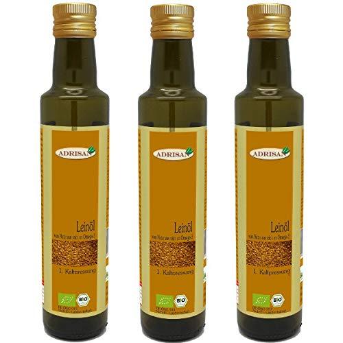 Adrisan Leinöl 1. Kaltpressung bio* | 3er Pack - 3 Flaschen á 750 ml