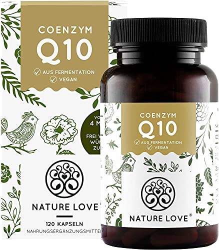 NATURE LOVE® Coenzym Q10 - Aktionspreis - mit 200mg pro Kapsel. 120 Kapseln im 4 Monatsvorrat. Premium Qualität: aus pflanzlicher Fermentation. Vegan, hochdosiert & hergestellt in Deutschland