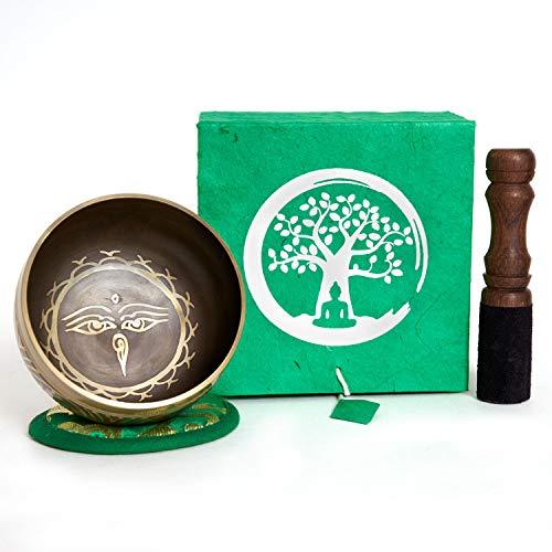 Klangschale aus Nepal – 200g – 8cm – für Schule – Meditation – Aufmerksamkeit – Achtsamkeit – Klangtherapie – 5 Metalle – Rosenholz Klöppel mit Leder – Set in handgeschöpfter Loktapapier Box