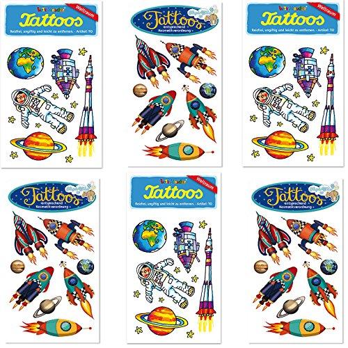 6-teiliges Tattoo-Set * Weltraum * vom Mauder-Verlag | Kinder Kindertattoo Kindergeburtstag Geburtstag Mitgebsel Geschenk Astronaut Welt Rakete Mondfahrt Planet Mond Sterne