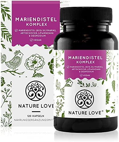 NATURE LOVE® Mariendistel - Premium 4-fach Komplex: Mariendistel (80{7f4142d89a352b30cc411c51f5403b83845d27674e7b7477030cd8d4f1e7f944} Silymarin), Artischocke, Löwenzahn und Desmodium - 120 vegane Kapseln (2 Monate) - Hochdosiert, vegan, hergestellt in Deutschland