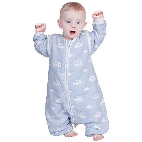 Lictin Schlafsack mit Füße Schlafsack Baby mit abnehmbaren Ärmeln für Säugling Kinder 1-3 Jahre alt von 75 bis 95 cm 100{8553d343c5fddaf339fe97acbfa5a58ec33aa85746504a7794b436d323916d9d} Bio-Baumwolle 2.0tog