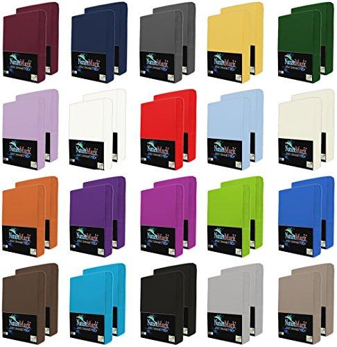 NatureMark 2er Pack Jersey Spannbettlaken, Spannbetttuch 100{b0eb7835d768e89bf65a3d4fe0440e972b1ac392a38c23b565906ec49e6ce662} Baumwolle in vielen Größen und Farben MARKENQUALITÄT ÖKOTEX Standard 100 | 90 x 200 cm - 100 x 200 cm - Silber grau