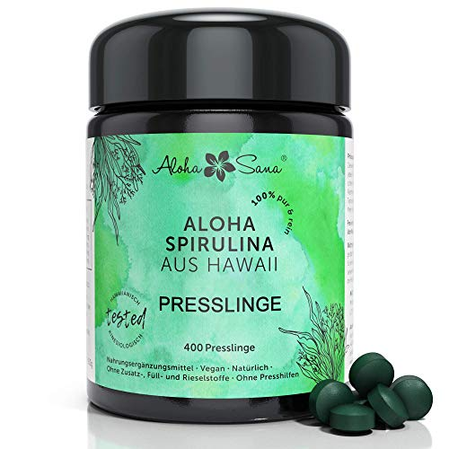 Aloha Sana ® - Hawaii Spirulina Pacifica Algen 400 Presslinge a 400 mg, Ultraviolettglas, laborgeprüft, energetisch getestet, Made in Germany