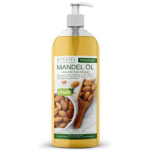 Kitama Mandelöl 100{f5e76c467278f81d83c985e9cafaa765ef840ff79f94cc15289f98925d733e54} rein 1000ml (1 Liter) Naturkosmetik - natürliches Pflege-Öl für Haut & Haar - Ideal für Aromatherapie als Basisöl Massageöl