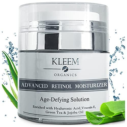 Beste Retinol Feuchtigkeitscreme bio mit Hyaluronsäure für straffere und glattere Haut - Natürliche Anti aging Anti Falten Retinol Feuchtigkeitsbehandlung - Reduziert Falten & Altersflecken - 50ml