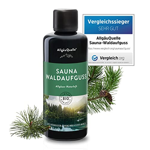 Saunaaufguss mit 100{f5b7379e014ef26651218273dd18fa6b2998744b8c1935ac58473d696781d5dc} BIO-Öle Waldaufguss Fichte Latschenkiefer Alpenzirbe Minze (100ml). Natürlicher Sauna-aufguss mit Sauna-ätherische-Öle im Aufguss-Mittel. Saunaduft natrurrein/Bio-Saunaöl