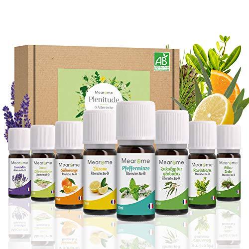 Bio Lavendelöl Pfefferminzöl Zitronenöl Eucalyptus Süßorange Zitronengras Lavendin Atlas Zeder Ätherische Öle Set 100{05a0355197e7bba605df86213529547e39430a07545ca6a98a07d1260ae5d464} Naturrein Duftöl Aromatherapie Set für Diffuser