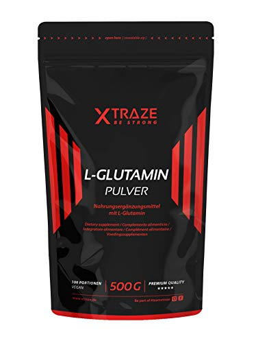 XTRAZE® L-Glutamin Pulver 500g, geschmacksneutral hochdosiert vegan 100{81656e3d091764d0b87fe5af90c7aa31ddce9ab2b406ea85f1fda1fa744ab40a} rein und ohne unnötige Zusatzstoffe, Made in Germany, Aminosäure für Kraftsport, Bodybuilding, Fitness