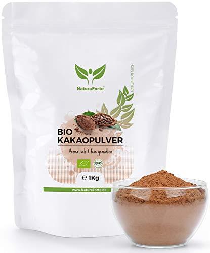 NaturaForte Kakaopulver Bio 1kg - Rohes Kakao Pulver, Ohne Zucker, Stark Entölt, 11{17326b38b49e707f28e331c34a563862aabec42a80167a5f6287a92673739d26} Fett, Intensives Aroma aus hochwertigen Kakaobohnen, Zuckerfrei, Vegan, Rein und Glutenfrei