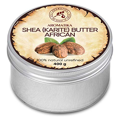 Shea Butter Kaltgepresst und Unraffiniert 400 g -100{42b38132b701fa1f096b3695dd4091ef6a5b5be0bf6112bca459a66480e91067} Rein Und Natürlich Karité Body Butter - Afrika - Körperbutter - Intensive Pflege für Gesicht - Körper - Haare - Körperpflege